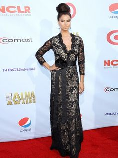Roselyn Sanchez in black lace belted gown with flower bow at the 2012 Alma Awards #celebs #celebrities #style