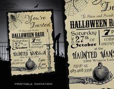 Halloween Party Invitation Adult DIY - Halloween Invitations Printable - Spooky Costume Party Invites - Vintage Halloween Printable Invite by X3designs