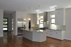 White Custom Cabinet And Appliances In Modern Kitchen Design. Beautiful!
