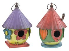 Regal Art and Gift Folk Birdhouse Metal Ornament for Home and Outdoor, Green and Yellow. Make a wonderful gift for any occasion.