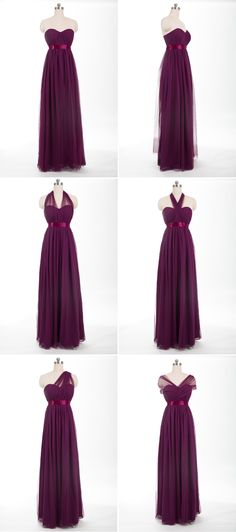 tulle long aubergine convertible bridesmaid dress from @tullechantilly