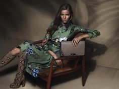 Green collared floral Gucci dress paired with python knee-high boots // Gucci Resort 2015 Campaign