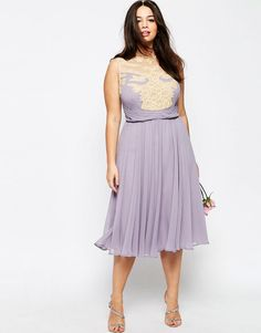Image 4 of ASOS CURVE WEDDING Midi Dress with Lace Applique