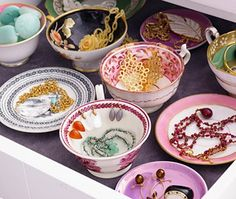 Pretty bowls in drawers.