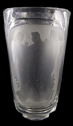 Large vase with etched decoration, school Eisenbrod, 1940