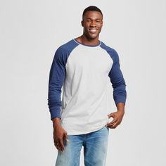 Men's Big & Tall Standard Fit Long Sleeve Baseball T-Shirt - Goodfellow & Co Navy (Blue) 3XBT