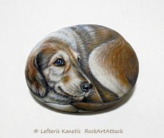 Dog With Brown and White Coat Hand Painted Stone  by RockArtAttack