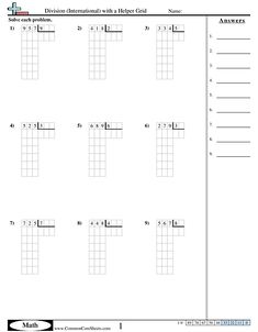 Division Worksheets - Division (International) with a Helper Grid worksheet Worksheets, Grid, Teaching, Math, Math Resources, Literacy Centers, Education, Countertops, Onderwijs