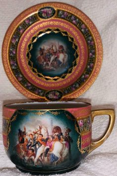 Rare antique Pauly & C. Venezia, Italy, Napoleonic Campaign Antique Cup and Saucer Set. Cup And Saucer Crafts, Cup And Saucer Set, Tea Cup Saucer, Antique Tea Cups, Rare Antique, Vintage Dishes, Vintage Tea, My Cup Of Tea, Espresso Cups