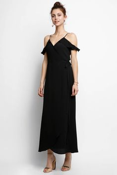 Abbeline Ruffle Cold Shoulder Maxi Dress | South Moon Under