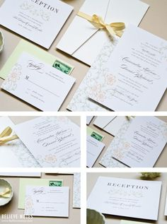 Delicate Floral Wedding Invitations - Antique Garden - Perfect formal invitations for a garden wedding. Designed by Believe Notes
