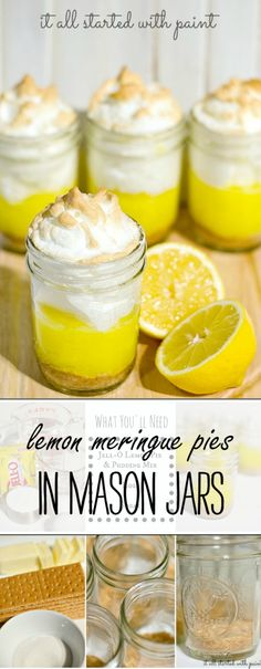 Mason Jar Lemon Meringue Pies: Single Serve Dessert Ideas Mason jar lemon meringue pies recipe for individual servings in mason jars; quick and easy recipe idea that will wow your guest. Full recipe included in how to tutorial Mason Jar Pies, Mason Jar Desserts, Mason Jar Meals, Meals In A Jar, Mason Jar Recipes, Mason Jar Food, Mason Jar Drinks, Food In Jars, Mason Jar Cupcakes