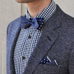 Chambray and polkadot bow tie and pocket square from Bedford and Broome