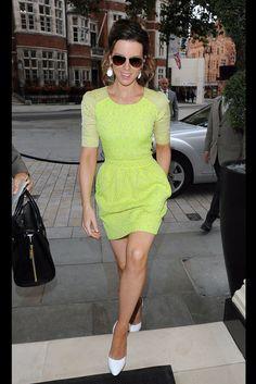 Kate Beckinsale neon yellow