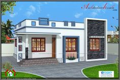 700 square feet three bedroom house plan and elevation, below 1000 square feet house plan is suitable for small families , low budget house Village House Design, Kerala House Design, Modern Bungalow House, Bungalow House Plans, Low Cost House Plans, Low Budget House, House Outside Design, Front Design Of House, Single Floor House Design