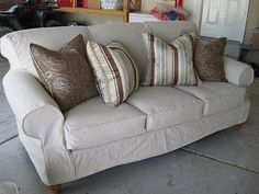 Couch slipcover made from drop cloth