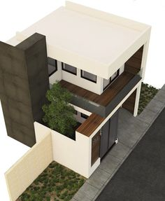 House Design Pictures, Small House Design, Dream Home Design, Modern House Design, Modern Bungalow House, Modern Minimalist House, Narrow House, Property Design, 3d Home