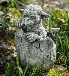 Cast Stone Hatching Dragon Garden Statue