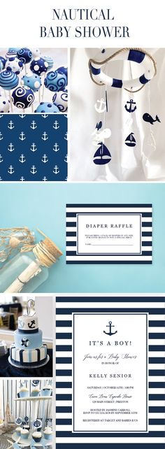 Printables for your Nautical Baby Shower by LittleSizzle. It's a boy Invitation, Diaper Raffle Ticket and Bring a Book request card.  Make the perfect announcement of a baby shower with this nautical baby shower invitation set. Included in the set are the Invitation, a Diaper Raffle ticket and a Bring-a-Book request card. Personalize the items with your own words. Simply download, edit and print! #babyshowerinvitations #nautical