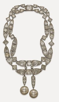Art Deco Natural Pearl and Diamond Necklace, formerly in the collection of Baroness Edouard de Rothschild
