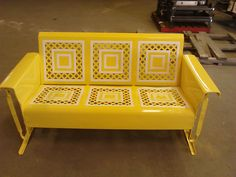 Sunny Yellow Refurbished Powdercoat Vintage Metal Porch Glider......www.retrovintagepatio.com
