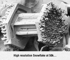 What a snowflake looks like under an electron microscope.