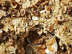 By combining fruit purée and chunks, with sweet, chewy dried cranberries, this apple crumble contains layers of texture beneath a crunchy granola topping. Healthy Desserts, Just Desserts, Apple Recipes, Baking Recipes, Apple Crumble Recipe, Crumble Topping, Gordon Ramsay, Cookbook Recipes, Muesli