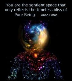 You are the sentient space that only reflects the timeless bliss of Pure Being. ~Anon I mus (No-self)