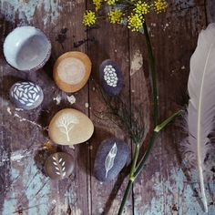 The hand-painted pebbles are from Natasha Newton and the pond bowl can be found at Akiko Hirai Ceramics.