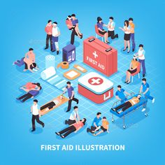 First aid isometric composition with rescue of victim persons, emergency care kit on blue background vector illustration