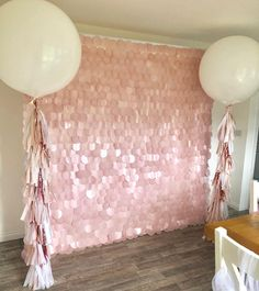 ⓟⓡⓞⓟ ⓜⓔ ⓟⓡⓔⓣⓣⓨ ➸ 💗Blush Pink Sequin Wall & Balloon Package 💗 All set up for today's birthday party - Pink Birthday Cake Ideen Sequin Rose, Pink Sequin, Blush Pink, Pink Glitter, Party Kulissen, Party Props, Party Wedding, 16th Birthday, 1st Birthday Parties