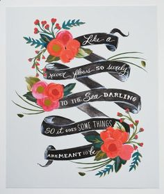 11 x 14 Art Print Elvis Quote Meant to Be Floral by firstsnowfall, $46.00