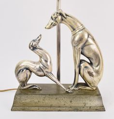 1930's Art Deco Whippet Greyhound Dog w Pup Nickel Finish Table Lamp..