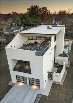 45 luxury modern house exterior design ideas – My Ideas Small House Design, Modern House Design, Minimalist House Design, Rooftop Bars Nyc, Rooftop Design, Roof Terrace Design, Style At Home, Modern House Plans, Modern Zen House