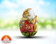 Jajko wielkanocne z Zajączkami - ręcznie malowana pisanka