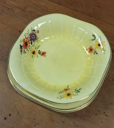Limoges China Co., Golden Glow Porcelain Dishes, yellow poppy, crazing, orange, purple poppies
