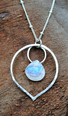 Rainbow Moonstone Necklace Sterling Silver