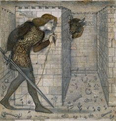 Theseus and the Minotaur in the Labyrinth. Edward Burne-Jones ~ 1861 Birmingham Museum Tx Old Master Prints and Drawings on FB. Bibliothèque Infernale on FB Art Gallery, The Minotaur, Google Art Project, Labyrinth, Greek Legends, Museum Art Gallery, Pre Raphaelite, Edward Burne Jones, Pre Raphaelite Art