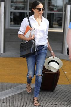 Meghan Markle wearing Chanel Gabrielle Bag, Stow First Class Tech Case, Madewell x Biltmore Panama Hat, Madewell Kana Sandals, Jennifer Meyer Long Bar Stud Earrings, Ghurka Kilburn 252 Rolling Tote and J.crew Franny Sunglasses