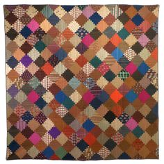'Log Cabin' Antique Quilt.  1870's. Courthouse steps variation of log cabin block.  Wool challis.