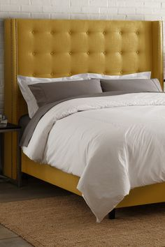 Yellow Bed On Pinterest Yellow Bedding Yellow Headboard