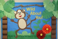 Id Love to do this in Mine & Mandy's room! Jungle theme bulletin board wild about you monkey preschool Monkey Bulletin Boards, Christian Bulletin Boards, Summer Bulletin Boards, Back To School Bulletin Boards, Preschool Bulletin Boards, Classroom Bulletin Boards, Bullentin Boards, Classroom Walls, Jungle Theme Classroom