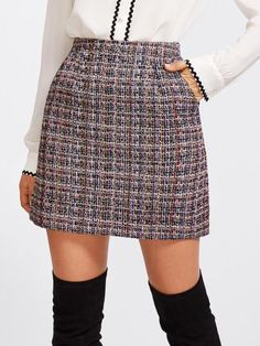 Zip Back Tweed Skirt online. SheIn offers Zip Back Tweed Skirt & more to fit your fashionable needs. High Waisted Plaid Skirt, Plaid Skirts, Waist Skirt, A Line Skirts, Short Skirts, Mini Skirts, Skirt Outfits, Dress Skirt, Mode Kawaii