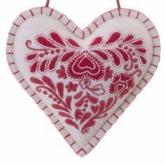 Romany Heart designer lavender bag, cream and red, wool Lavender Bags, Lavender Sachets, Heart Cushion, Luxury Cushions, Tiny Heart, Felt Ornaments, Chain Stitch, Wool Felt, Valentines
