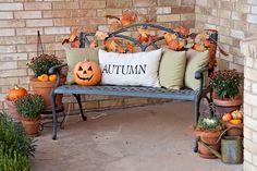 Festive fall bench on front porch! #falldecor #outdoorfalldecor homechanneltv.com