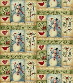 Holiday Inspirations Fabric-Sw Snowman Patch 2
