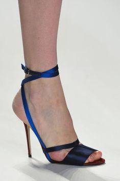 Carolina Herrera Blue & Black Evening Sandal Fall 2014 #Shoes #Heels