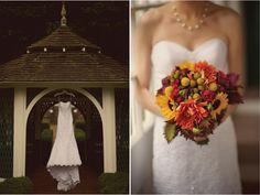 Fall Outdoor Wedding : Rustic Elegance   DIY Details  | bellethemagazine.com Wedding Flower Decorations, Wedding Flower Arrangements, Wedding Flowers, Wedding Centerpieces, Table Decorations, Wedding Bride, Wedding Rustic, Wedding Blog, Wedding Ideas