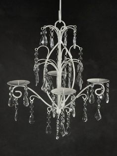 Paris Flea Market Crystal Hanging 4 Candle Metal Chandelier $19.99. would be cute as cupcake holder