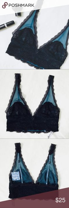 FP Black and Blue Lace Bralette The perfect mix of sexy and comfortable - this bra from Free People features black lace accents against a real blue mesh and adjustable straps for a perfect fit.  Brand new with tags!  Size XS and would fit a 32A, 32B, and possibly 32C best. Free People Intimates & Sleepwear Bras